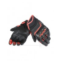 DAINESE CARBON D1 SHORT GLOVES BLACK/FLUO-RED